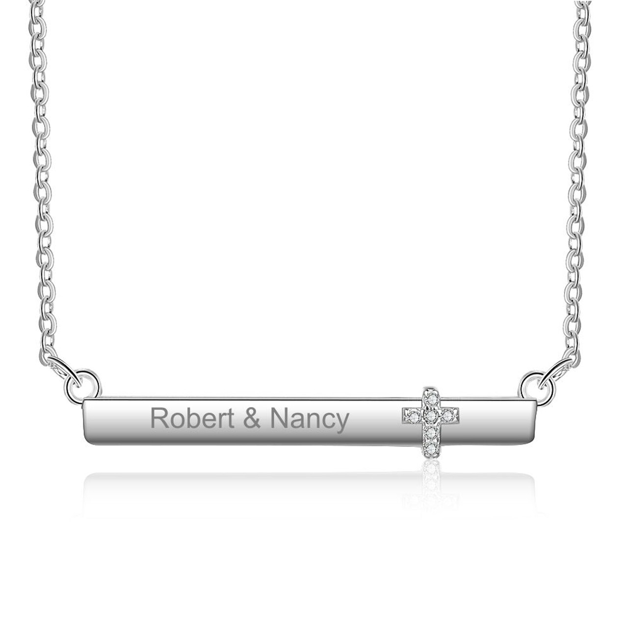 Engraved Necklace New Baby Gifts Silver Bar Necklace