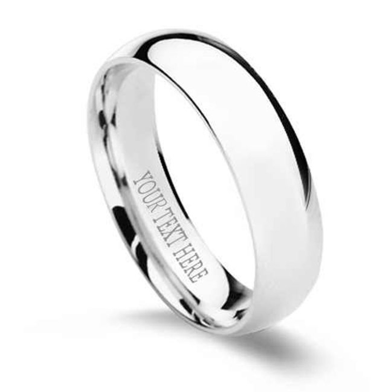 Perfect Jewelry Gift Titanium Sterling Silver Inlay Flat 6mm Brushed Band