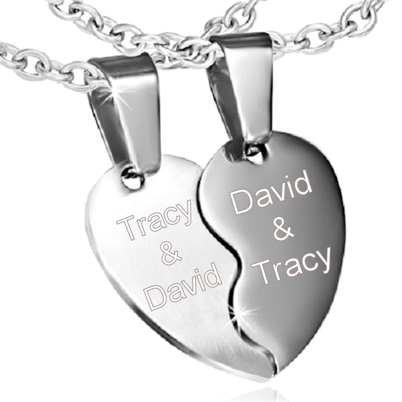 3bd4877ac818 Personalized Couples Split heart Stainless Steel Pendant - ForeverGifts.com