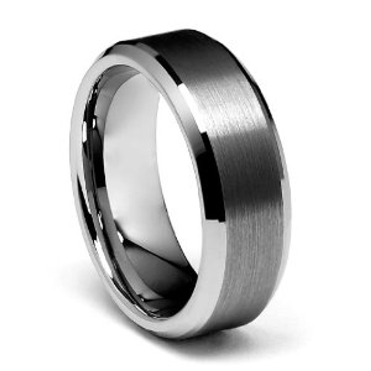 Beveled Edge Tungsten Wedding Band Free Engraving Forevergifts Com