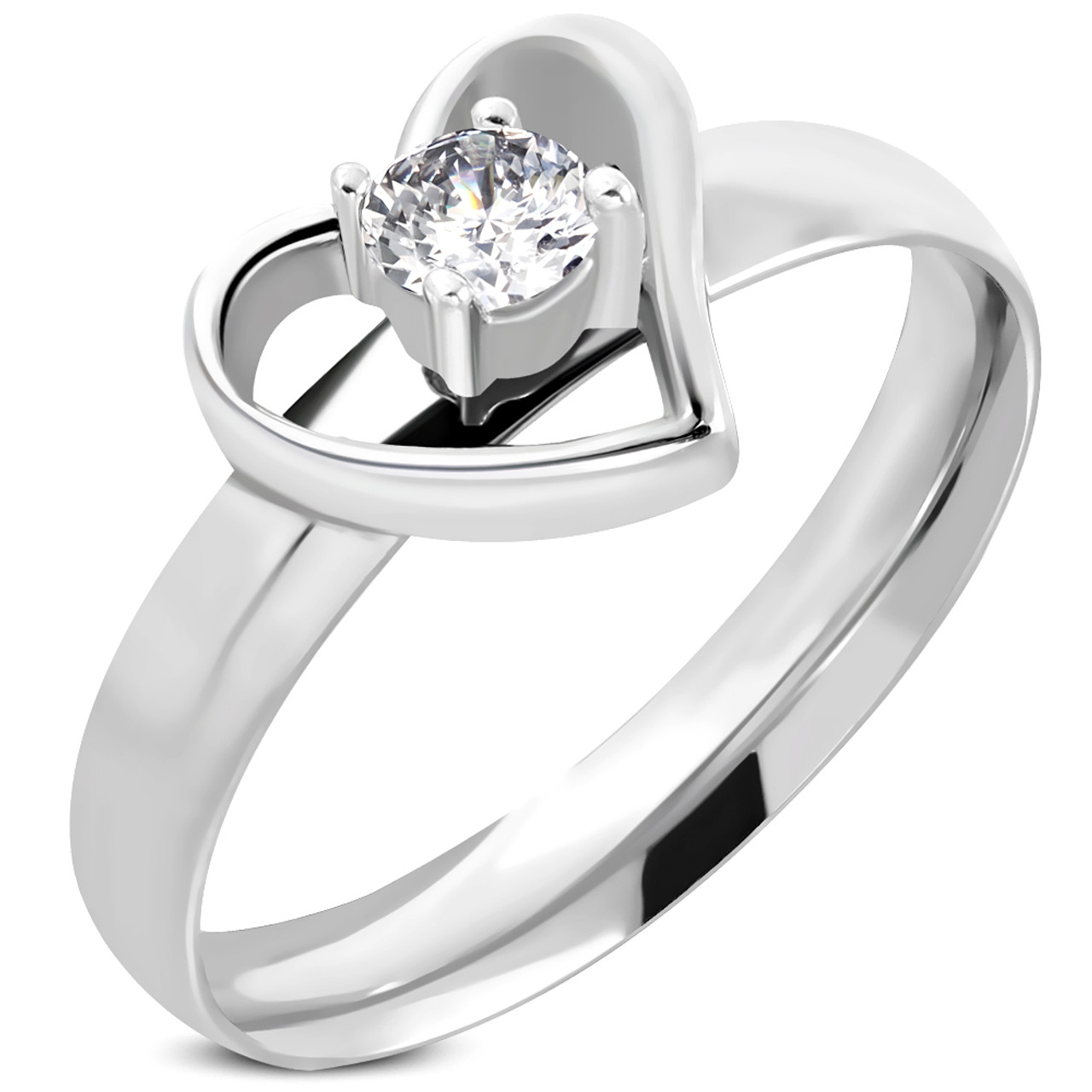 Stainless Steel Band Wedding Ring 3 Solitaire CZ Comfort Fit 5mm High Polish
