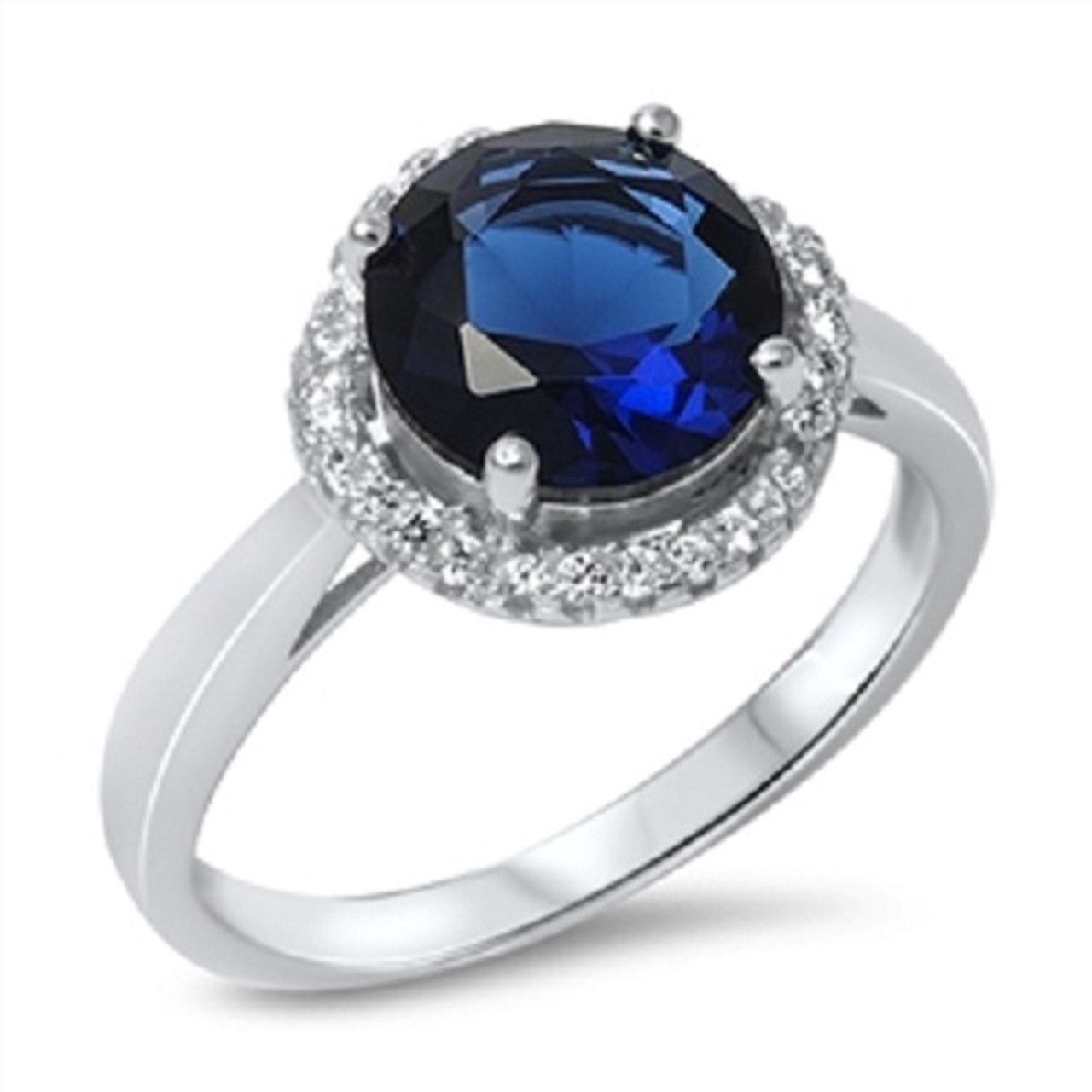 Size 6 Deep Blue Sapphire And Cubic Zirconia Sterling Silver Ring