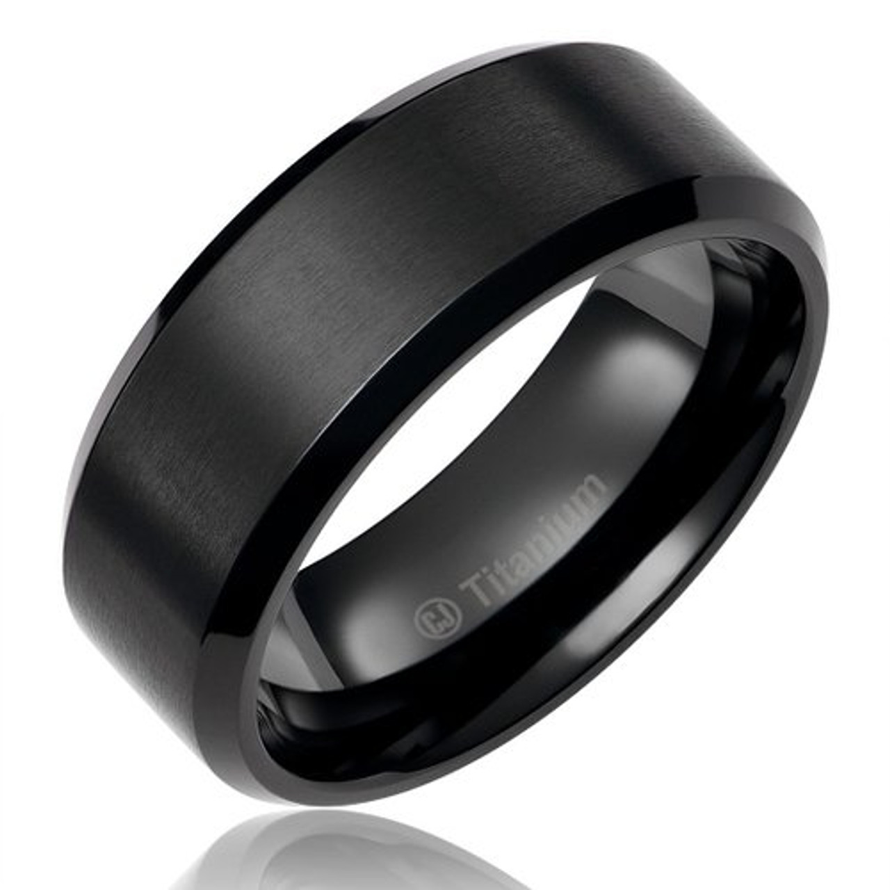 White IP Plated Titanium Ring Domed Brushed Center Stepped Edge 8mm Cheap Wedding band Free Engraving Titanium Ring Man Wedding Band