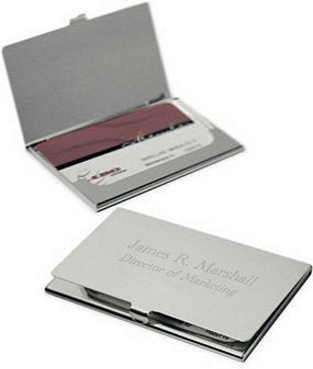 Personalized Brushed Metal Business Card Holder