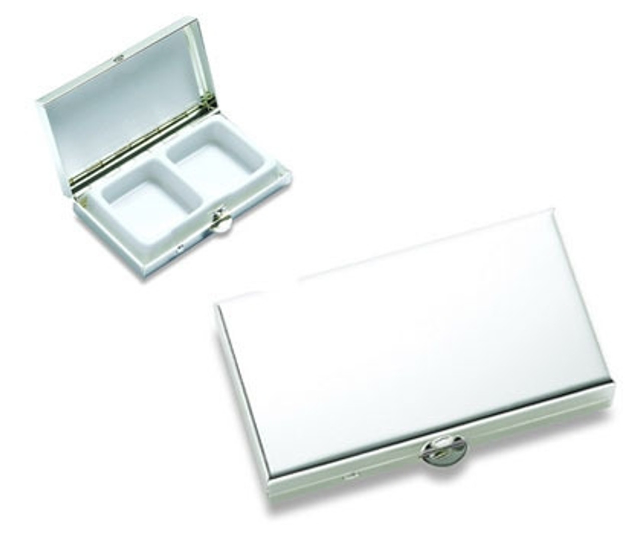 Personalized Shiny Chrome Plated 2 Compartment Pill Box