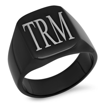 Personalized Black Stainless Steel Signet Ring