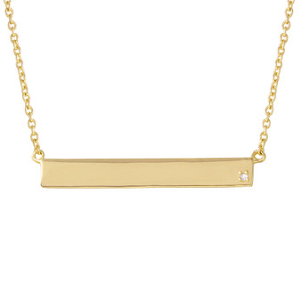 Sterling Silver Gold Plated Bar Necklace with CZ