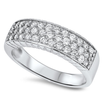 Quality Sterling Silver with CZ Personalized Ring