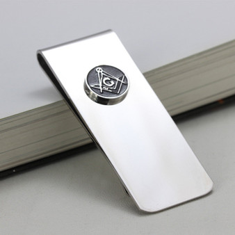 Stainless Steel Money Clip with Masonic Symbol