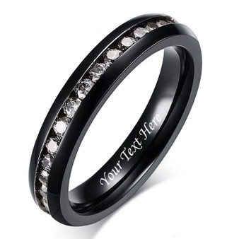 4mm Quality Black Stainless Steel Eternity Ring with Clear CZ