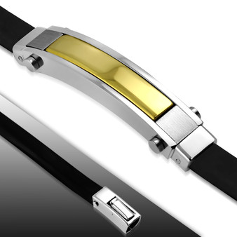 Quality Stainless Steel with Rubber Two Tone Bracelet