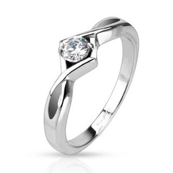Personalized Stainless Steel Single Knotted CZ Solitaire Ring