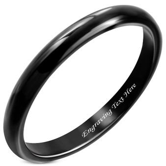 2.5mm Black Stainless Steel Ring - Free Engraving