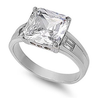 Quality Personalized Stainless Steel Ring with Clear CZ