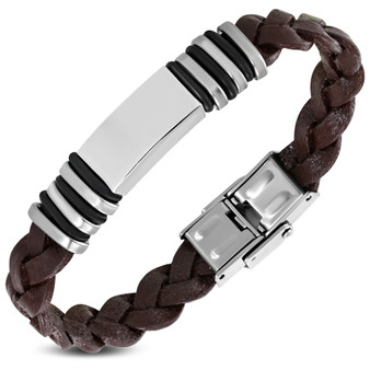 Genuine Leather with Stainless Steel Braided Bracelet