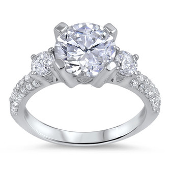 Personalized Sterling Silver With Cubic Zirconia Promise Ring