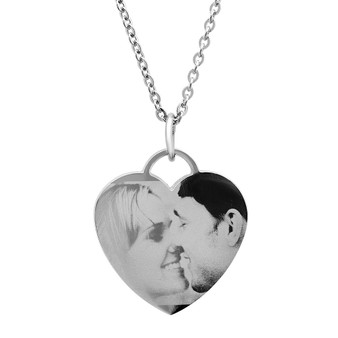 Personalized Stainless Steel Heart Photo Pendant