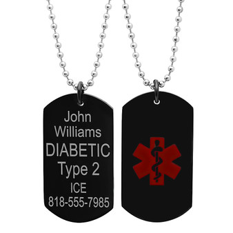 "Stainless Steel Black Medical ID Dog tag with 30"" bead chain"