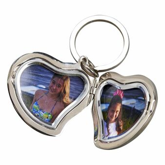 Personalized Heart Shaped Locket Keychain - Free Engraving