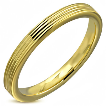 Stainless Steel Gold Color Plated 2 Color Orange Enameled Comfort Fit Flat Band Ring