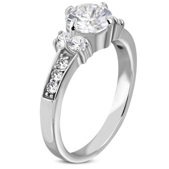 Personalized Stainless Steel Prong-Set Round CZ Band Ring