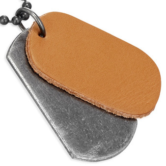 Metal Alloy & Brown Leather Dog Tag with Chain