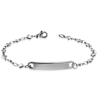 Personalized Stainless Steel Love Heart Link Chain Bracelet
