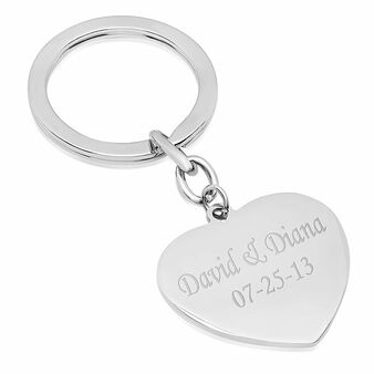 Personalized Stainless Steel Heart Keychain - Free Engraving