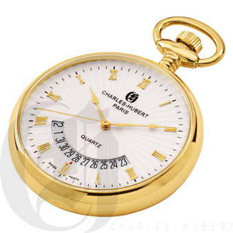 Gold-Plated Open Face Quartz Charles Hubert Pocket Watch