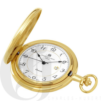 Gold-Plated Polished Finish Quartz Charles Hubert Pocket Watch