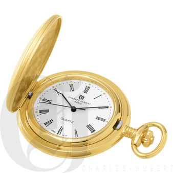 Gold-Plated Brushed Finish Quartz Charles Hubert Pocket Watch