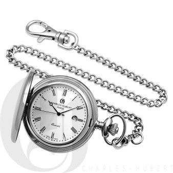 Polished Finish Stainless Steel Quartz Pocket Watch by Charles Hubert