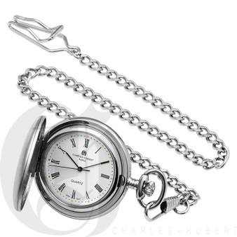 Brushed Finish Hunter Case Quartz Pocket Watch by Charles Hubert