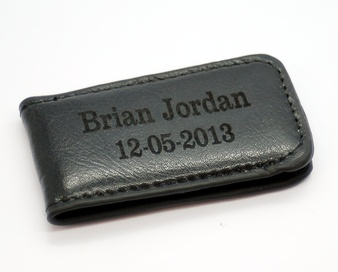 Black Strong Magnet Genuine Leather Money Clip