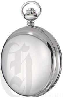 Charles-Hubert Paris Stainless Steel Double Mechanical Pocket Watch