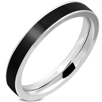 Stainless Steel Black Plain Comfort Fit Flat Band Ring