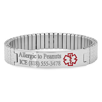 Quality Stainless Steel Stretch Medical ID Bracelet - Free Engraving