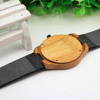 Personalized Natural Bamboo Wooden Watch with Genuine Black Leather
