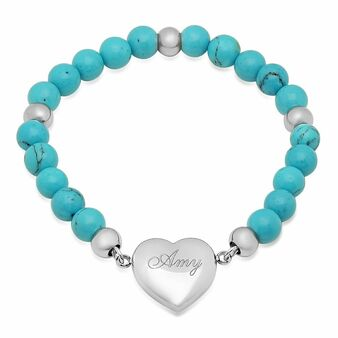 Personalized Heart Charm Bracelet with Blue Stone