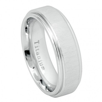 7mm White IP Titanium Ring Frosted brushed Center High Polished Edge