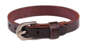 Personalized Genuine Dark Brown Leather Bracelet with Buckle