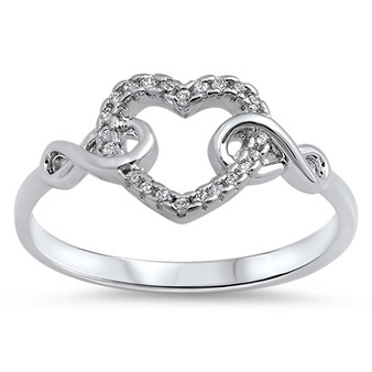Personalized Sterling Silver Heart with Infinity Symbol Ring