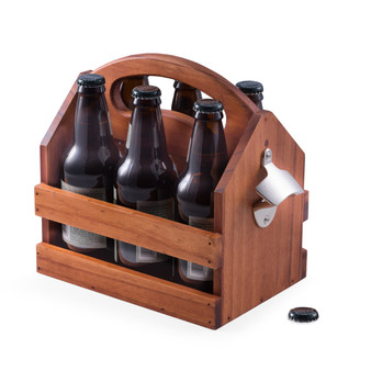 Personalized Wooden Beer & Beverage Caddy - Free Engraving