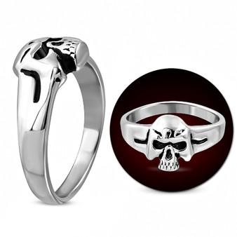 Stainless Steel 2-tone Ghost Skull Face Biker Ring