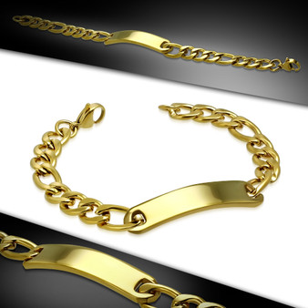 10mm Gold Color Plated Stainless Steel Figaro Link Chain Bracelet
