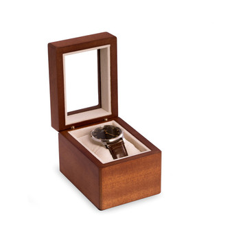 Personalized Cherry Wood Single Watch Box with Glass Top