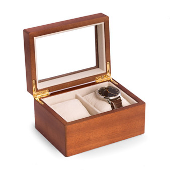 Personalized Cherry Wood 2 Watch Box with Glass Top