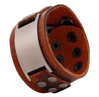 Genuine Brown Leather Wide Cuff Punk Style Bracelet