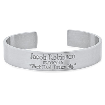 Personalized Stainless Steel Cuff Bracelet for Men