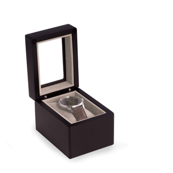 Personalized Black Wood Single Watch Box with Glass Top